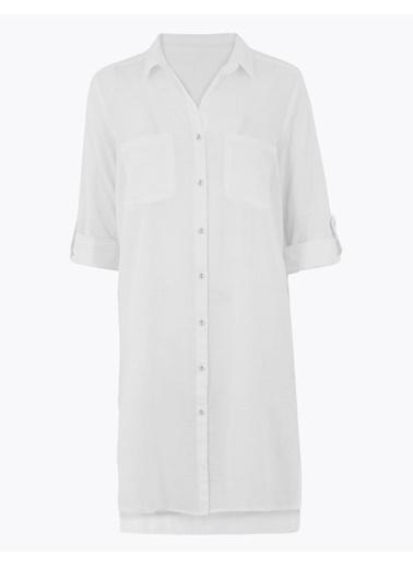 Marks & Spencer Saf Pamuklu Plaj Elbisesi Beyaz